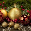 Christmas candle and color balls — Stock Photo
