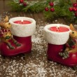 Christmas composition with  candle and decoration — Stockfoto