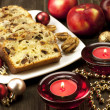 Christmas sweet cake with decoration — Stock Photo