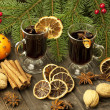 Christmas still life with two glasses of mulled wine — Стоковое фото