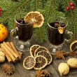 Christmas still life with two glasses of mulled wine — Stock Photo #34092617