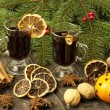 Christmas still life with two glasses of mulled wine — Photo