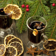 Christmas still life with two glasses of mulled wine — Foto Stock