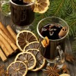 Christmas still life with two glasses of mulled wine — Stock Photo