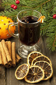 Glass with mulled wine — Stock Photo
