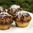 Christmas sweet muffins with chocolate glaze — Stock Photo