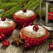Christmas mini cakes with berries — Stock Photo