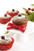 Chocolate cupcake with berry — Stock Photo