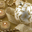 Christmas decorations with  candles and christmas bauble — Stock Photo