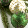 Christmas decorations with  christmas baubles — Стоковая фотография