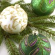 Christmas decorations with  christmas baubles — Stock fotografie