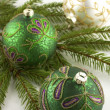 Christmas decorations with  christmas baubles — Foto de Stock