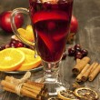 Christmas composition with hot spiced wine — Stock Photo