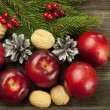 Christmas card with red apples — Stock Photo