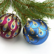Christmas balls on fir tree,  isolated on white — Stok fotoğraf