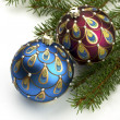 Christmas balls on fir tree,  isolated on white — Foto Stock