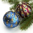 Christmas balls on fir tree,  isolated on white — Lizenzfreies Foto