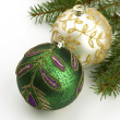 Christmas balls on fir tree,  isolated on white — Photo