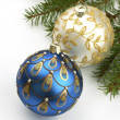 Christmas balls on fir tree,  isolated on white — Zdjęcie stockowe