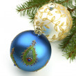 Christmas balls on fir tree,  isolated on white — Stockfoto
