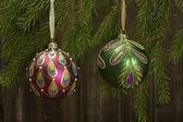 Christmas balls on fir tree — Stock Photo