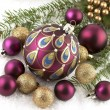 Christmas decorations with  christmas baubles — Stock Photo