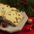 Traditional raisins cake for christmas with anise, cinnamon and dried fruits — Stock Photo