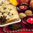 Christmas cake with spices and dried fruits — Stock Photo