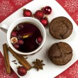 Still life with tea mugs and chocolate muffins with decoration — Stock Photo