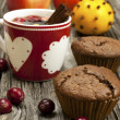 Christmas mug with chocolate muffins  — Stock Photo