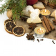 Stock Photo: Christmas still life with cookies, candle and spices