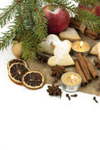 Christmas still life with cookies, candle and spices — Stock Photo