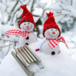 Happy snowman friends in drifts — Stock Photo #37546743
