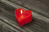 Red candle heart form — Stock Photo