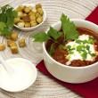 Russian-ukrainian cuisine - soup borscht — Stock Photo
