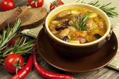 Traditional fresh beans soup in the bowl — Stock Photo