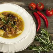 Traditional fresh beans soup in the bowl — Stok fotoğraf