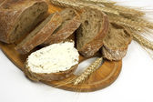 Fresh bread  with cheese cream — Foto de Stock