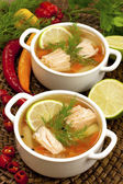 Fish soup from salmon, potato and bread — Stock Photo
