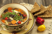 Traditional bean soup in the bowl — Stock Photo