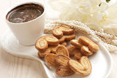 Still life with cookies and coffee — Stockfoto