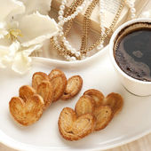 Still life with cookies and coffee — 图库照片