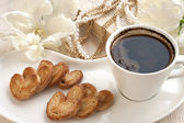 Still life with croissants and coffee — Stockfoto