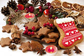 Christmas gingerbread cookies with festive decoration — Stock Photo