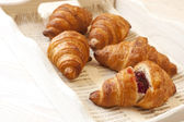 Breakfast with croissant — Stock Photo