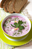 Summer cold soup with beet, cucumber, kefir and egg — Stok fotoğraf