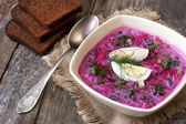 Summer cold soup with beet, cucumber, kefir and egg — Stock Photo