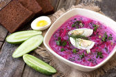 Traditional cold beet soup with vegetables — Stock Photo