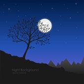 Vector ilustración de noche natural. silueta de un árbol y m — Vector de stock