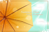 Summer bright sunny vintage background. Umbrella under the blue — Stock Vector